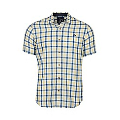 Raging Bull - Yellow short sleeves linen look check shirt