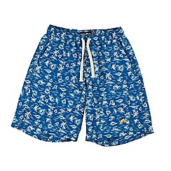 Raging Bull - Mid blue patterned board short