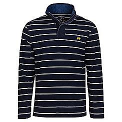 Raging Bull - Navy contrast stripe 1/4 zip sweater