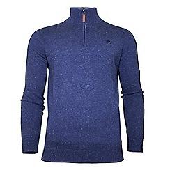 Raging Bull - Midnight blue knitted cotton 1/4 zip jumper