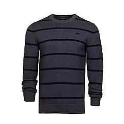 Raging Bull - Dark grey crew neck striped sweater