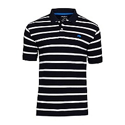 Raging Bull - Navy and white Breton stripe polo shirt