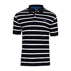 Raging Bull - Navy and white Breton stripe polo shirt