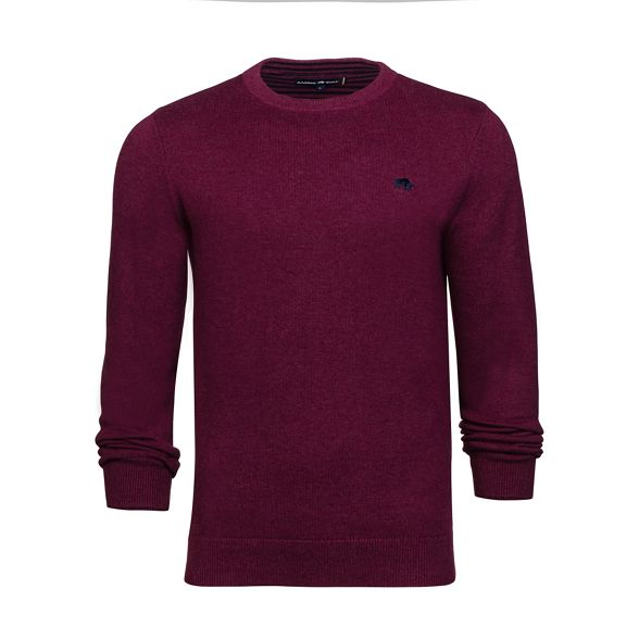 Burgundy crew Raging Bull neck sweater cotton 6qx5A1