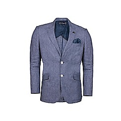Raging Bull - Big and tall mid blue linen check blazer