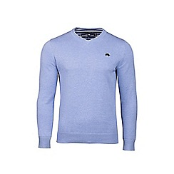 Raging Bull - Big and tall sky blue v-neck cotton and cashmere sweater