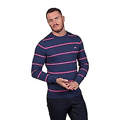 Raging Bull - Big and tall pink crew neck striped sweater