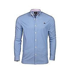 Raging Bull - Mid blue long sleeve candy stripe shirt