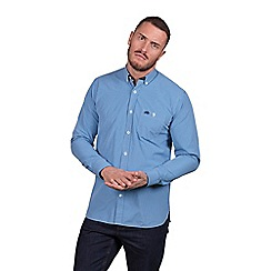 Raging Bull - Big and tall mid blue long sleeve small gingham shirt