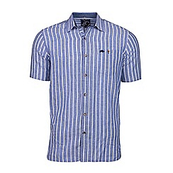 Raging Bull - Blue long sleeve bengal stripe linen shirt