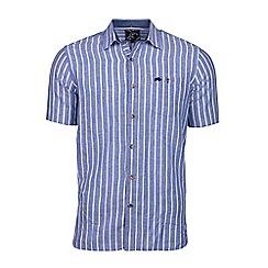 Raging Bull - Big and tall blue long sleeve stripe linen shirt