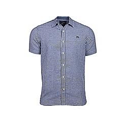 Raging Bull - Navy short sleeve gingham shirt