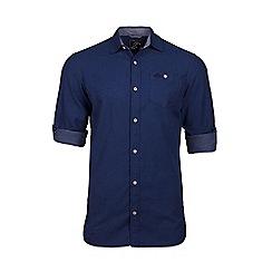 Raging Bull - Short sleeve chambray dobby navy shirt
