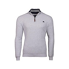 Raging Bull - Grey rib knit 1/4 zip jumper