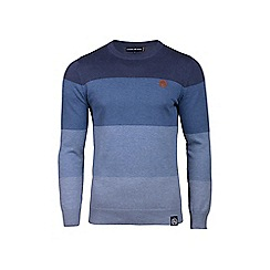 Raging Bull - Big and tall blue panel stripe sweater