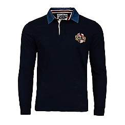 Raging Bull - Navy embriodered crest rugby shirt