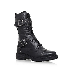 KG Kurt Geiger - Black 'Sting' flat lace up calf high boot