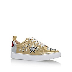 KG Kurt Geiger - Gold 'Lippy' flat lace up sneakers