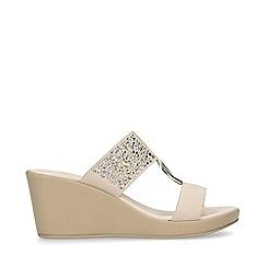 Carvela Comfort - Nude 'Salt' Embellished Mid Heel Wedge Sandals