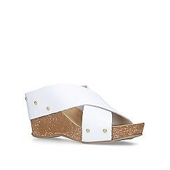 Carvela Comfort - White 'Sooty' mid heel wedge sandals