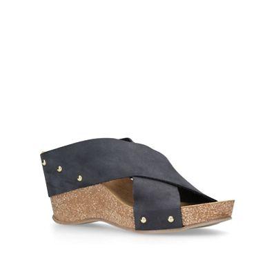 Carvela Comfort - Navy 'Sooty' mid heel wedge sandals