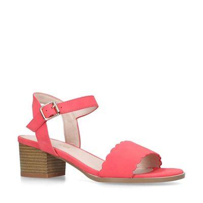Miss Kg   Red 'rosie' Block Heel Scalloped Edge Sandals by Miss Kg