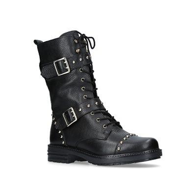 KG Kurt Geiger - Black 'Sting' flat biker boots