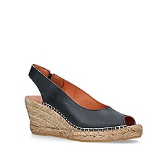 Carvela Comfort - Black 'Sharon' mid heel wedge espadrille sandals