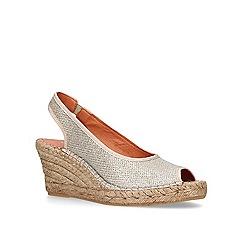Carvela Comfort - Gold 'Sharon' mid heel wedge espadrille sandals