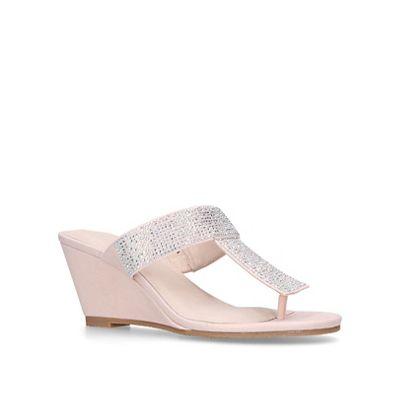 Carvela Comfort - Pink 'Samia' mid heel wedge sandals