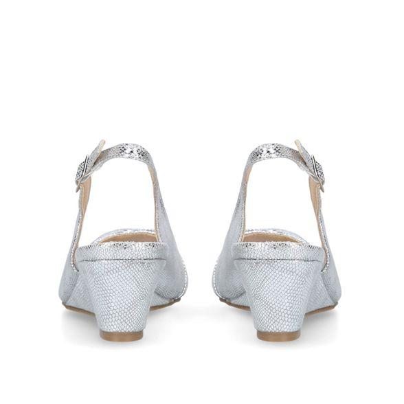 Silver sandals Comfort wedge Carvela low 'Ace' Z5Pxwz