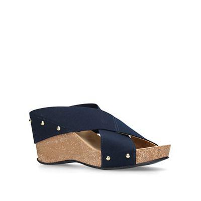 Carvela Comfort - Navy 'Sully' mid heel wedge sandals