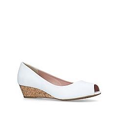 Miss KG - White 'Carley' low heel wedge peep toe shoes