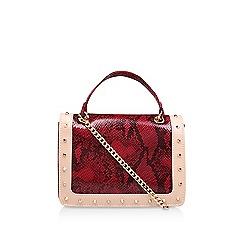 Carvela - Red 'Kansas X Body' studded snake print crossbody bag