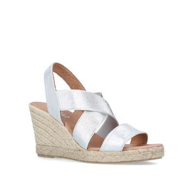 Carvela Comfort - Silver 'Shady' mid heel wedge sandals