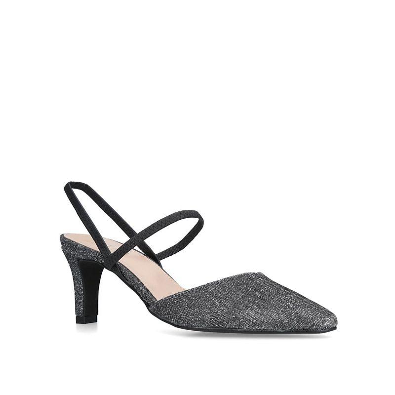 Carvela Comfort - Black Asya Metallic Kitten Heel Court Shoes