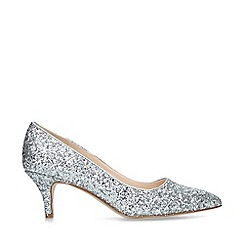 Nine West - Silver 'Flagship 55' glitter kitten heels court shoes
