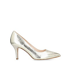 Nine West - Gold 'Flagship 75' snake print mid heel court shoes