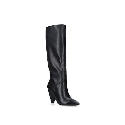 Kg Kurt Geiger   Black 'woody' Leather Cone Heel Knee Boots by Kg Kurt Geiger