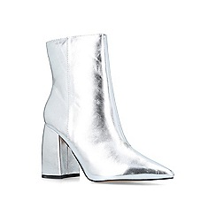 KG Kurt Geiger - Metallic 'Tyra' silver block heeled ankle boots