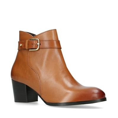 Nine West Tan  Calm  block heeled ankle boots   Debenhams d050fb0ff3