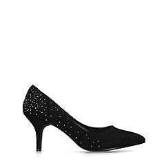 Miss KG - Black 'Candice' suedette embellished court shoes