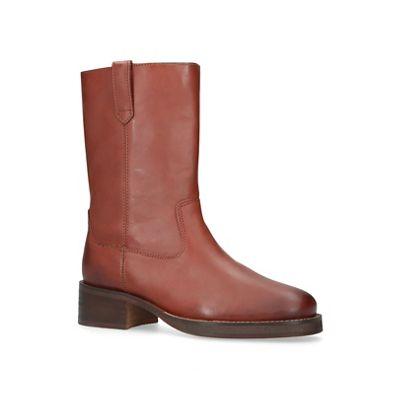 KG Kurt Geiger - Tan 'Terry' low heel calf boots