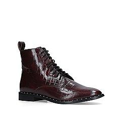 KG Kurt Geiger - Dark 'Tilda' red croc print lace up boots
