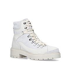 Carvela - White 'Shake' leather block heel biker boots
