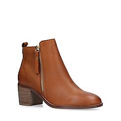 Nine West - Tan 'Charm' mid heel ankle boots
