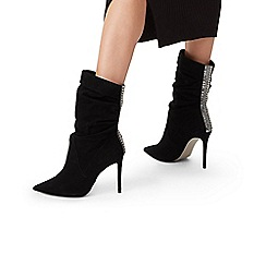 Carvela - Black 'Grand' Suede Stiletto Heel Calf Boots
