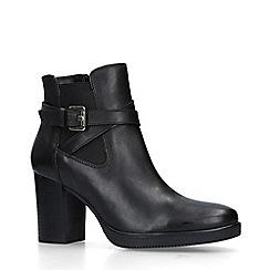 Carvela - Black 'Silver' Leather Block Heel Ankle Boots