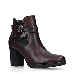Carvela - Wine 'Silver' Leather Block Heel Ankle Boots
