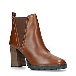 ALDO - Tan 'Galorevia' Leather Block Heel Ankle Boots